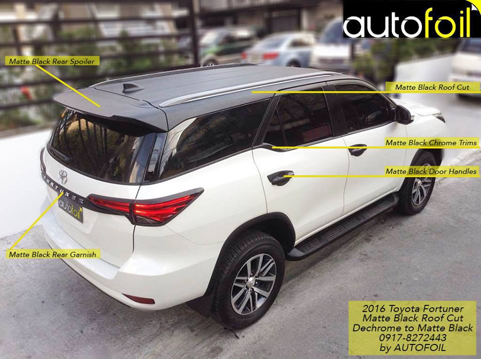 2016 Toyota Fortuner Matte Black Roof Cut Wrap And
